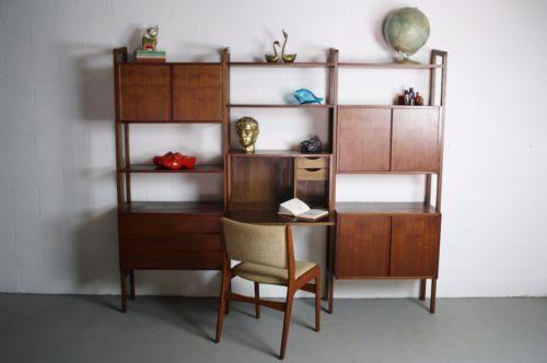 60s teak danish mid century wall unit desk bookcase bar cabinet record bookshelf