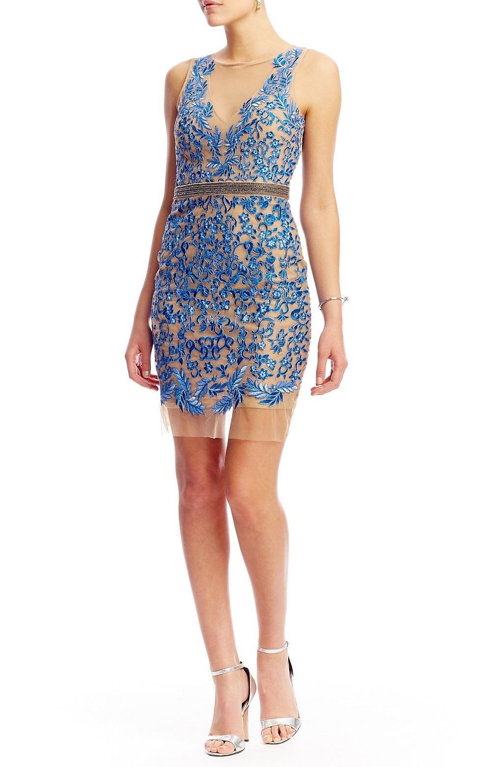 Fl Embroidered Illusion Short Dress New Arrivals Nicole Miller