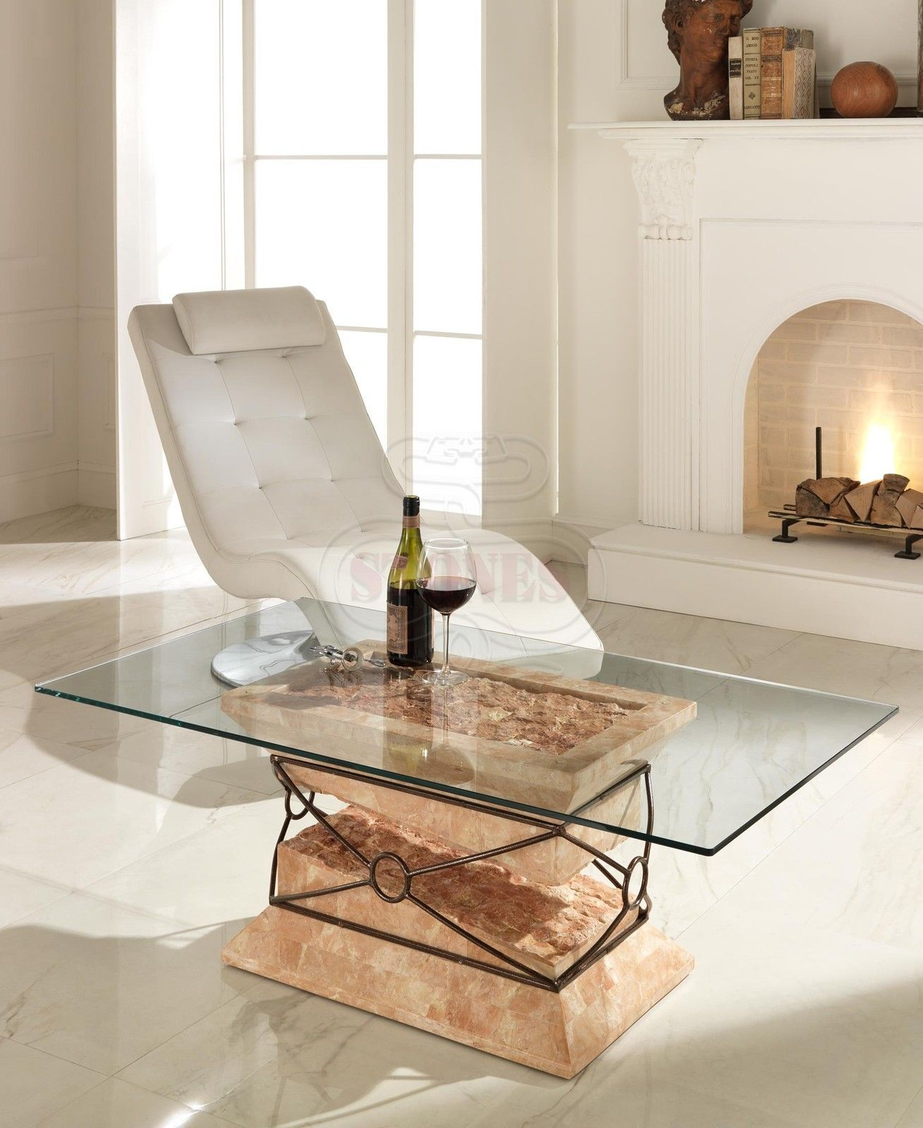 Tavoli In Pietra E Cristallo.Tavolino Da Salotto In Cristallo E Pietra Elegante Soggiorno Sala