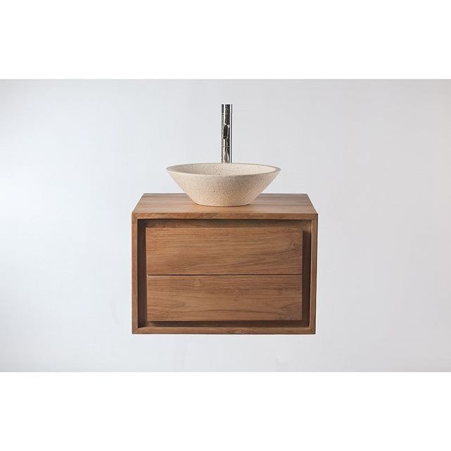 meuble salle de bain meuble sous vasque teck et vasque terazzo pekka miliboo prix avis. Black Bedroom Furniture Sets. Home Design Ideas