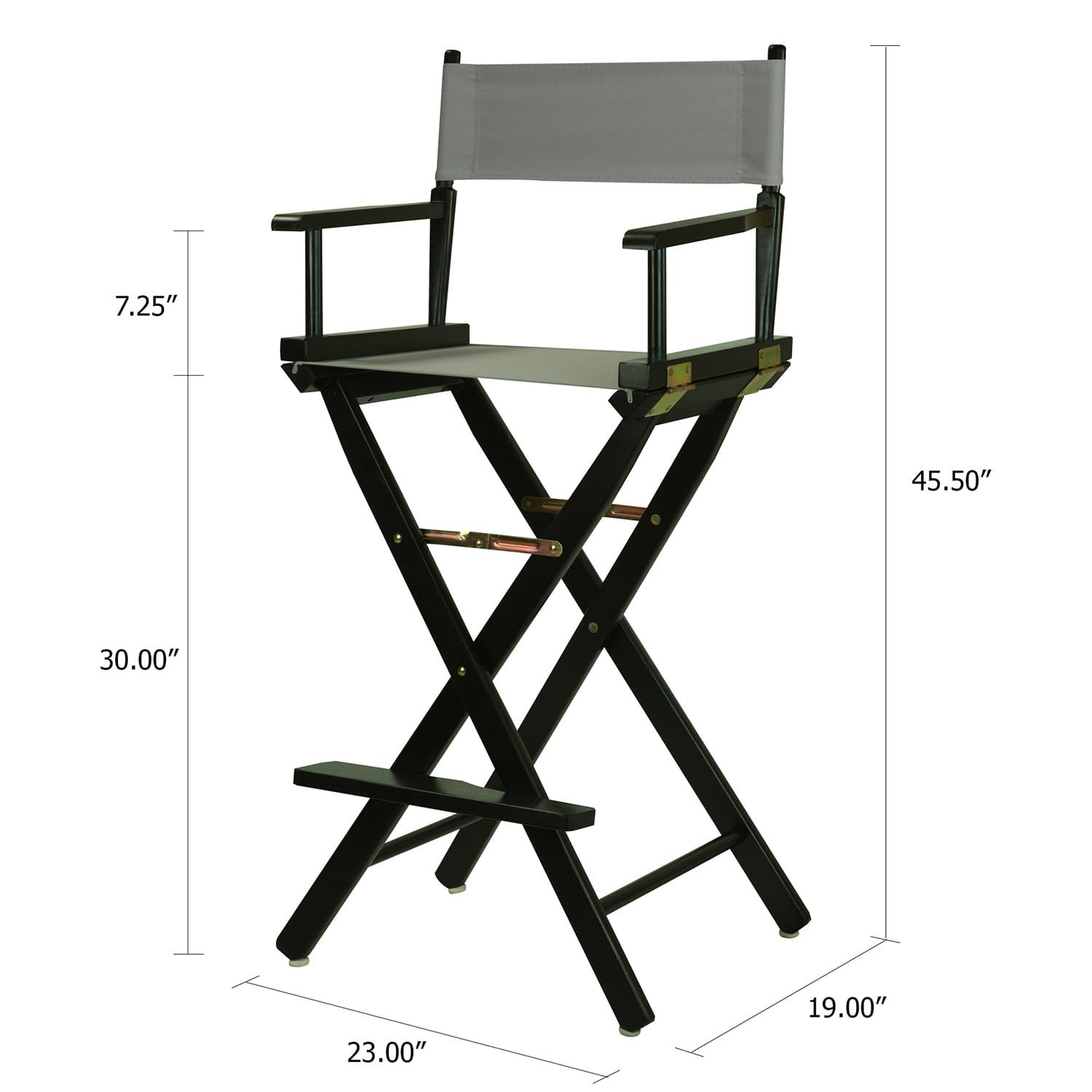 30 Director S Chair Bar Stool Black Frame With Gray Canvas