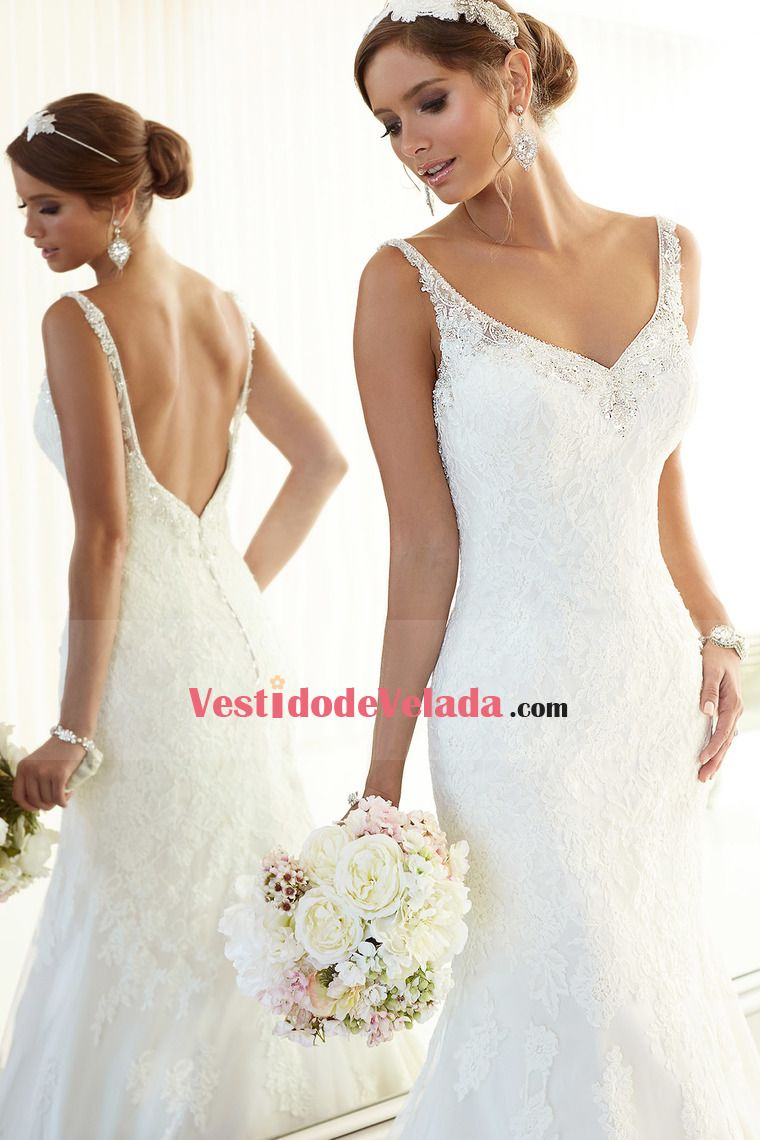 Vestidos de novia Vaina / columna Cuello V Sin mangas Barrer ...