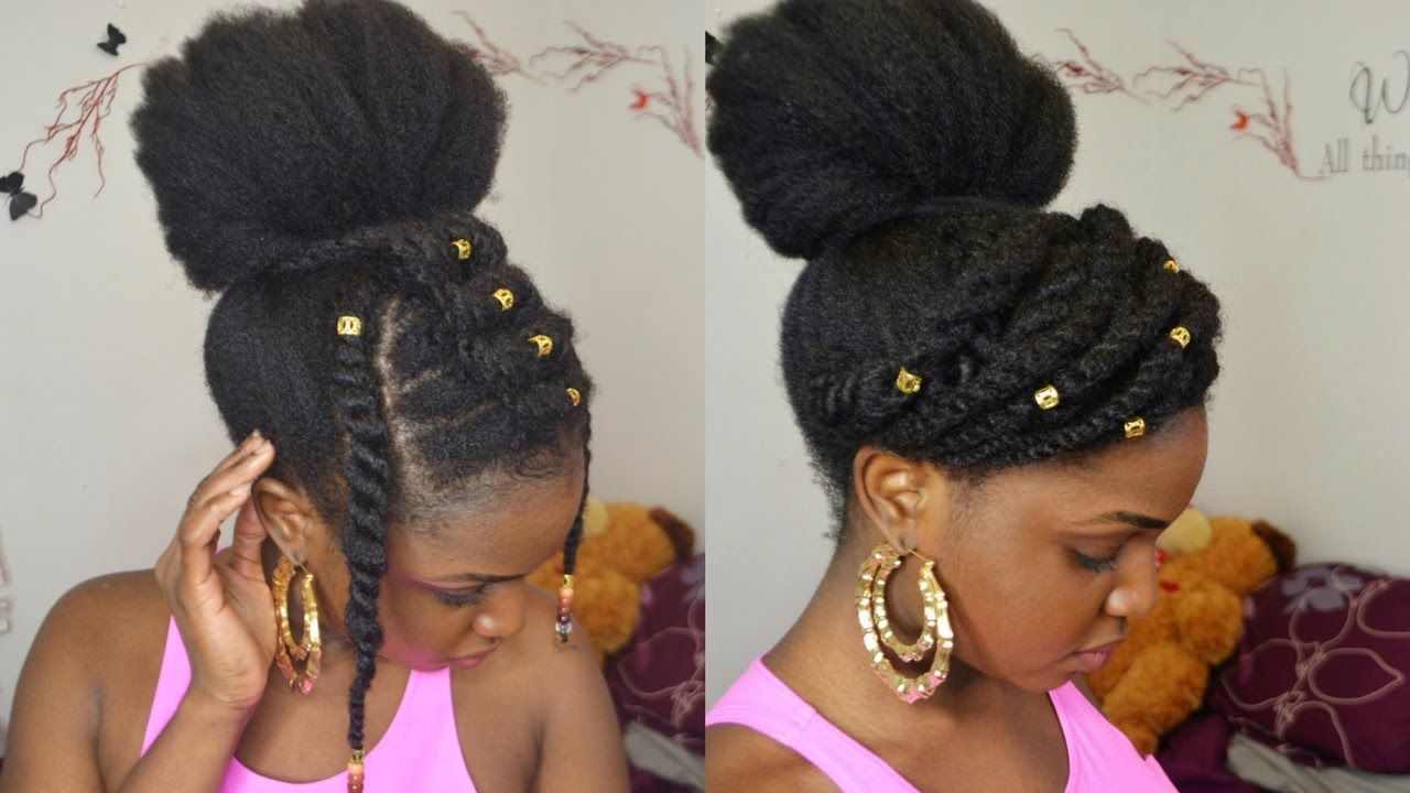 Bun twists on 4c natural hair protective style