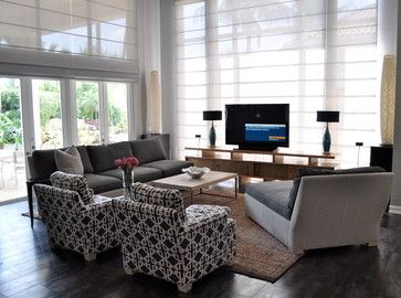 Tv In Front Of Window With Room For Window Treatments Adds Nice
