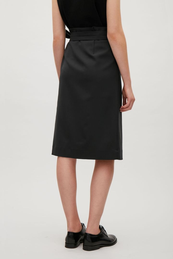 69060fb1094ced COS image 3 of Pleated wrap-over skirt in Black | COS | Skirts, High ...