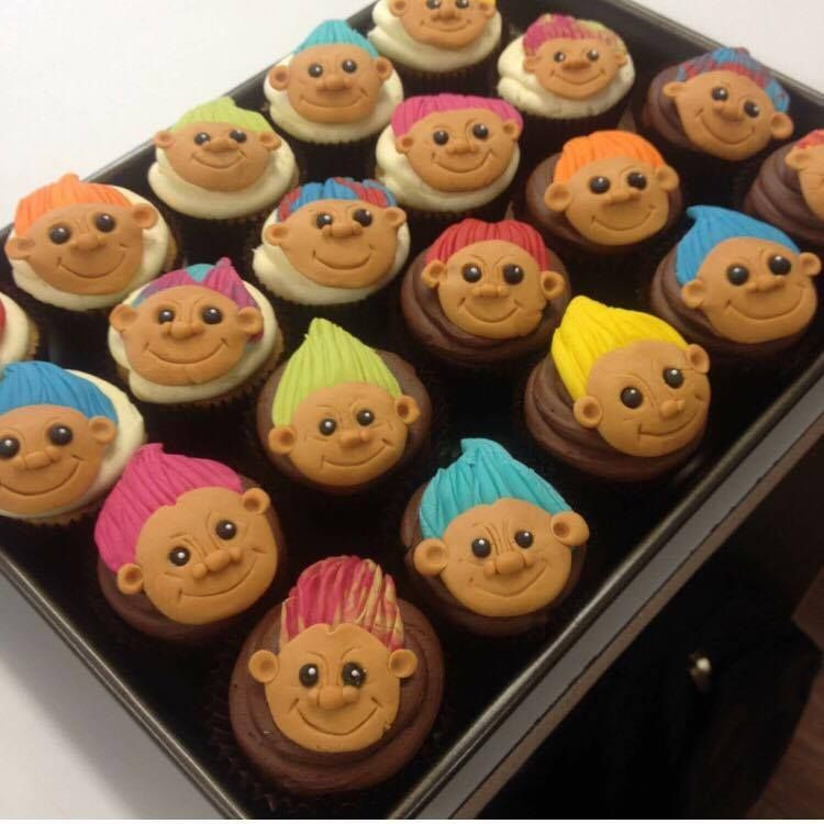 Our Troll Cupcakes! Check out more cupcake designs on our website:  http://www.highlandbakehouse.co.uk/