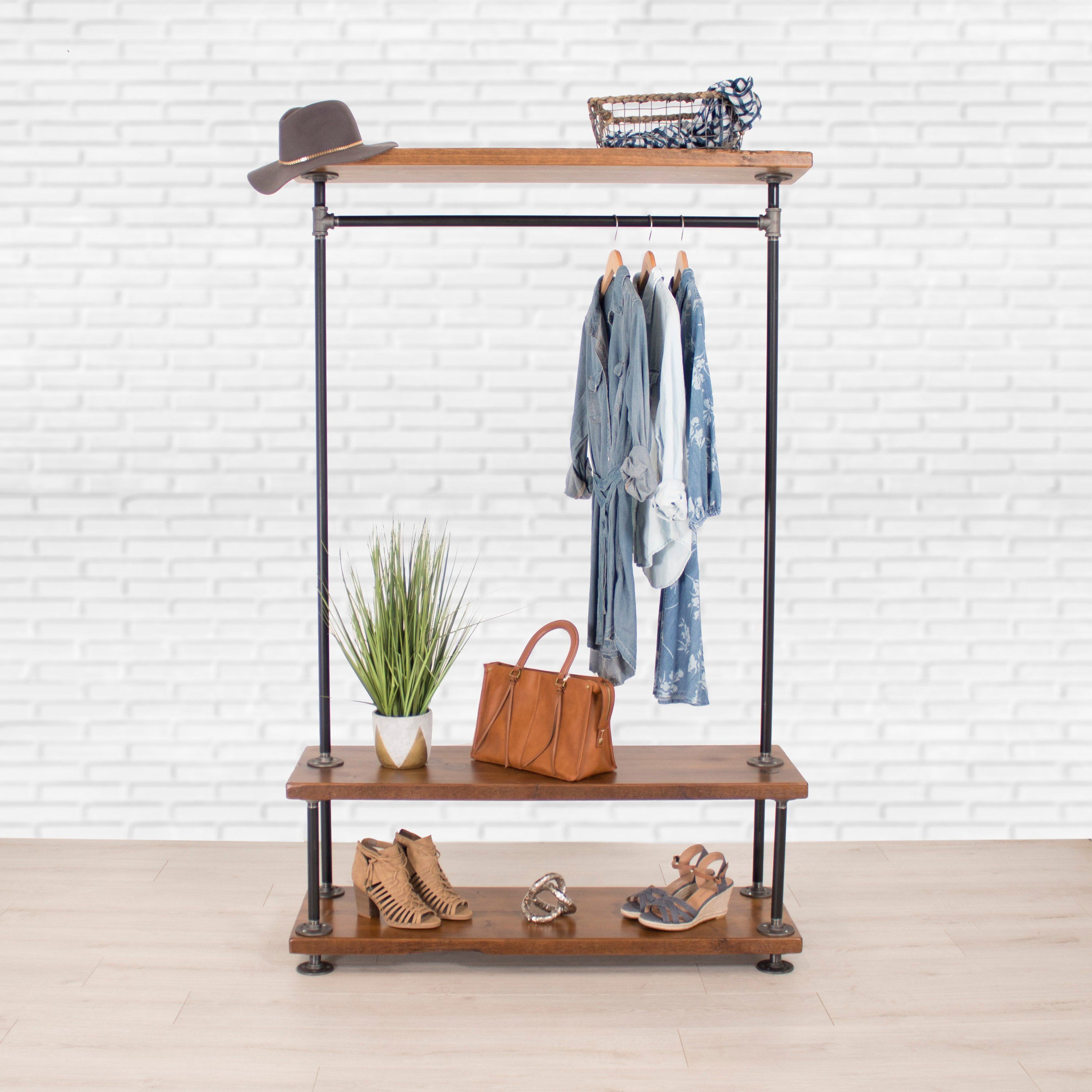 Industrial Pipe Clothing Rack with Cedar Wood Shelving by William