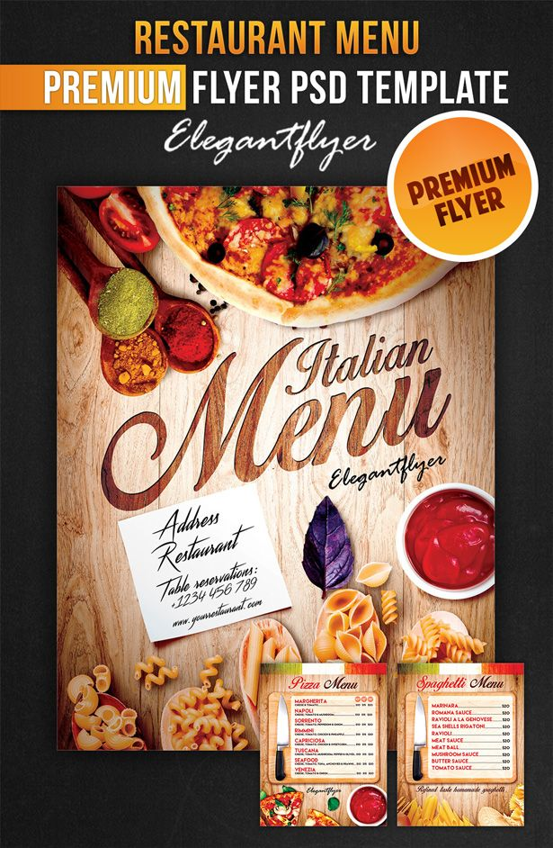 Restaurant Menu  Flyer Psd Template  Facebook Co By Webstroy