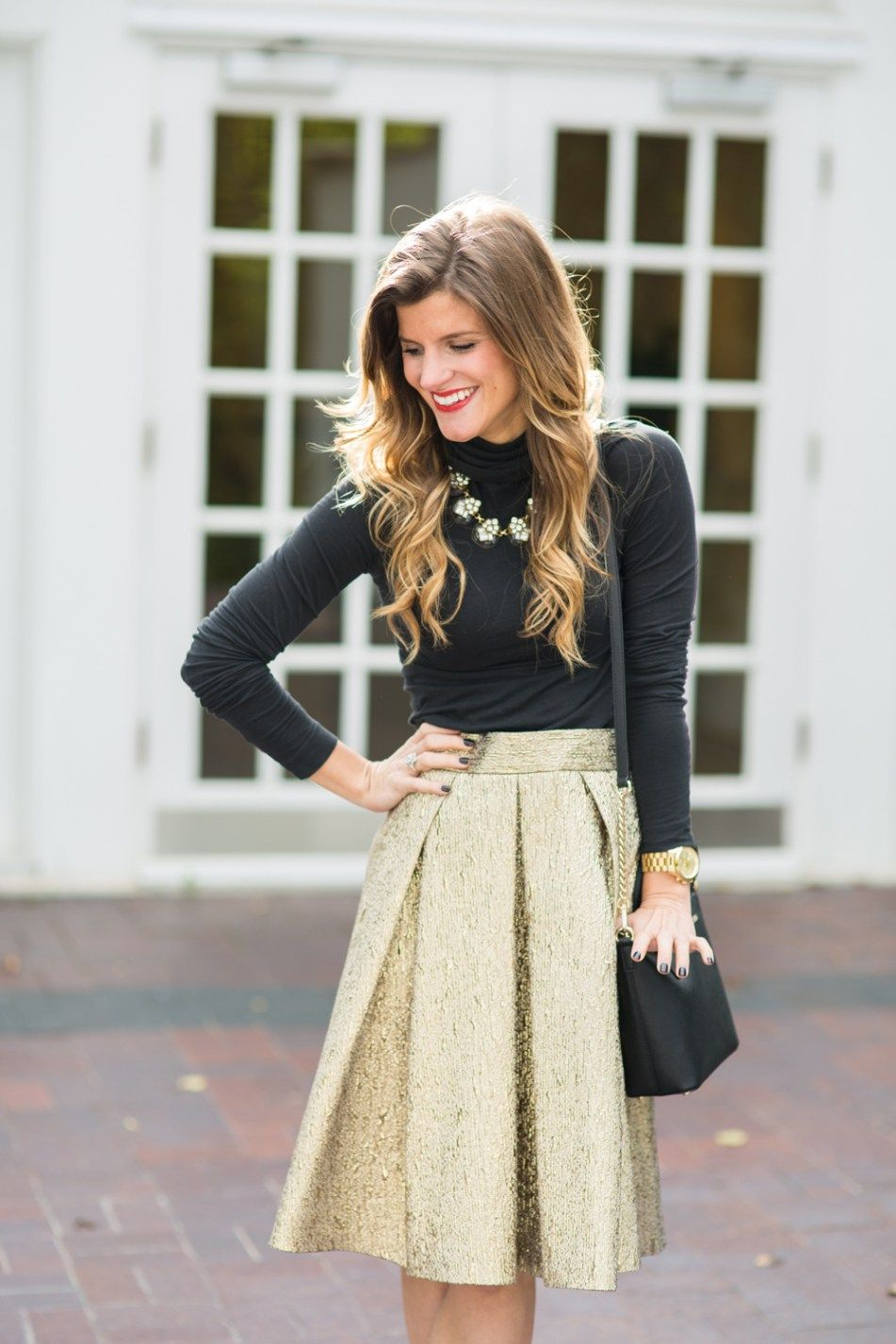 c33aafdc0632 Metallic Gold Skirt and Black Turtleneck Holiday Outfit-58 Holiday Outfits  Women, Party Outfits