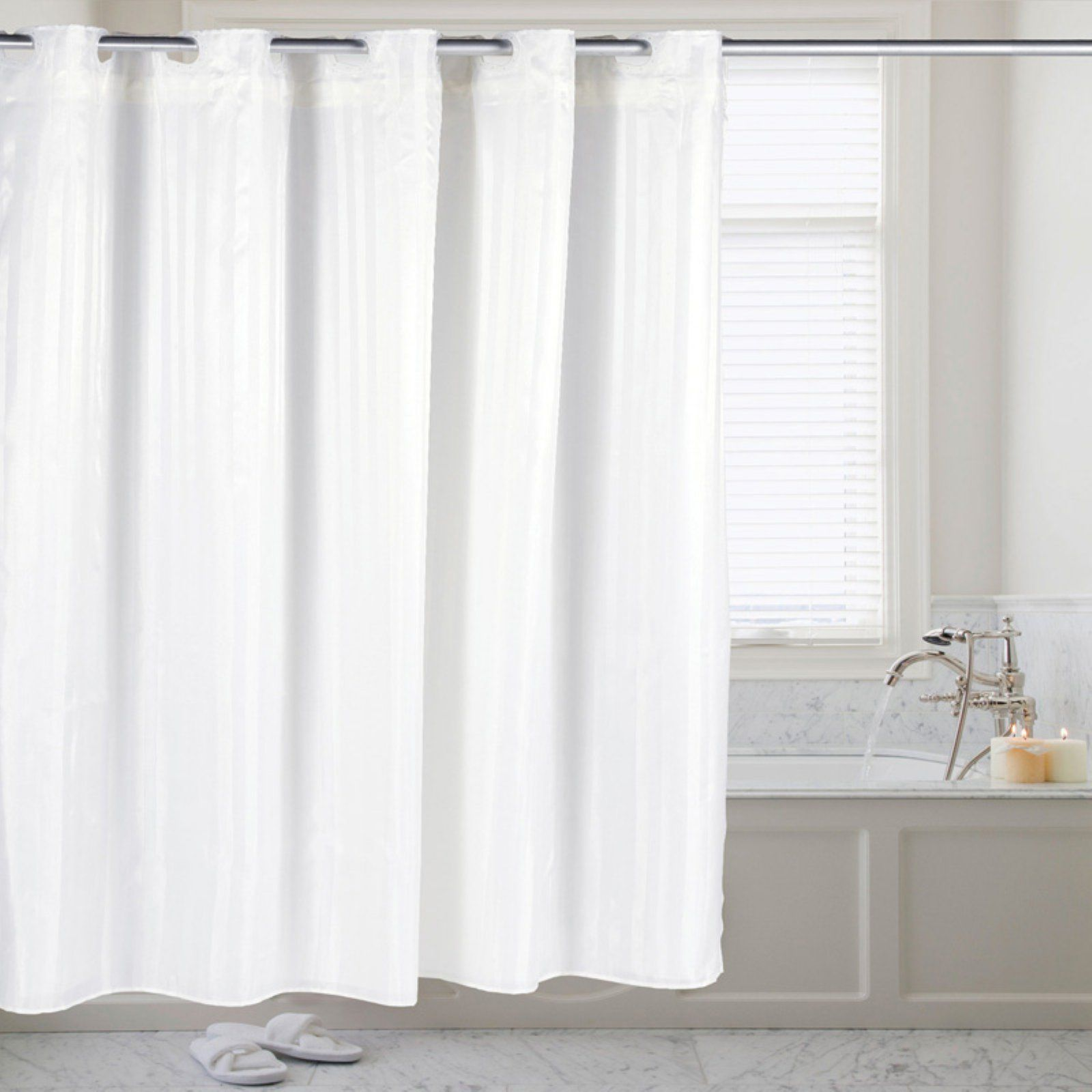 Sweet Home Collection Hookless Fabric Dobby Stripe Shower Curtain