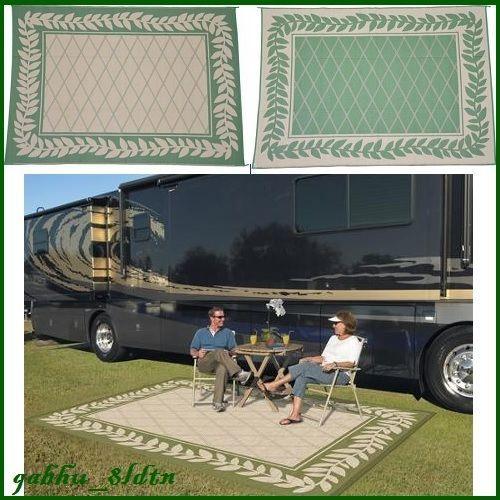 Rv Outdoor Rug 9x12 Indoor Patio Deck Camper Green Mat Reversible Picnic Carpet
