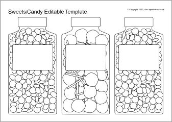 Editable Sweets Candy Jar And Packet Templates Black And White