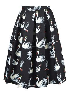 Shop Black Swan Print Pleated Midi Skirt from choies.com .Free shipping Worldwide.