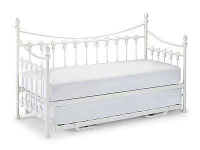 Vintage White Versailles Single Metal Day Bed Mattress Trundle