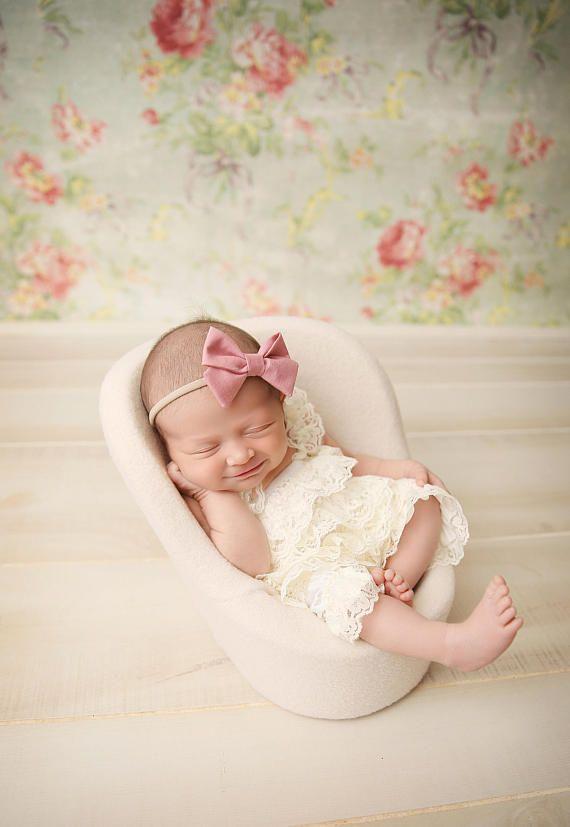 Blush pink baby headband bows baby girl headband sailor bow