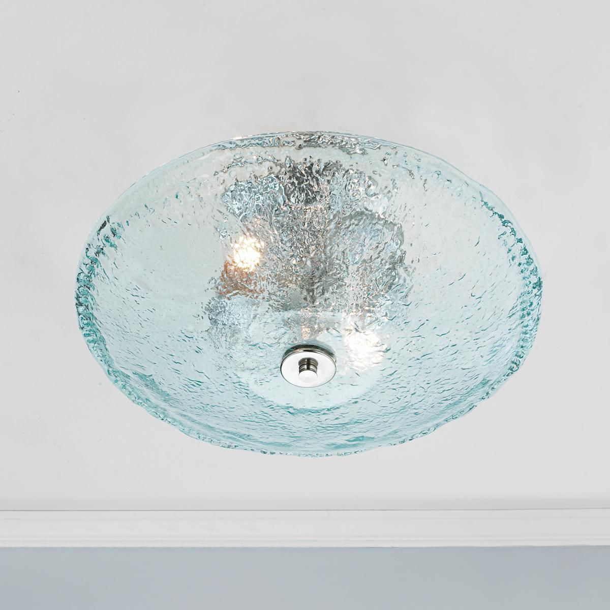 recycled bottle glass bowl ceiling light
