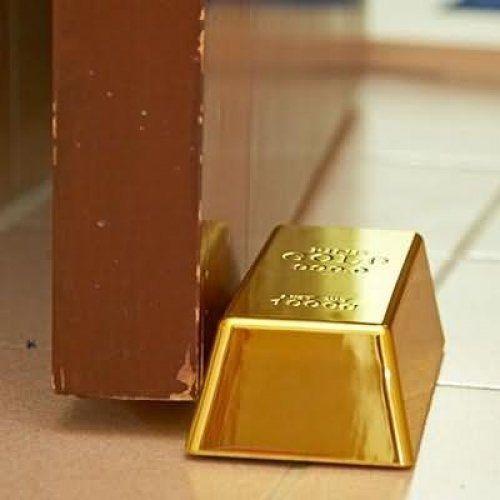 Fake Gold Bar Bullion Door Stop Paperweight 1kg 35oz Heavy Brick Replic  Ornament