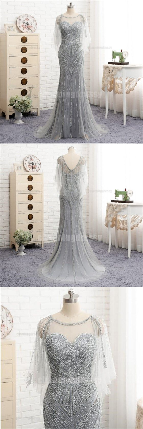 Long silver grey scoop beading sparkly elegant high quality prom