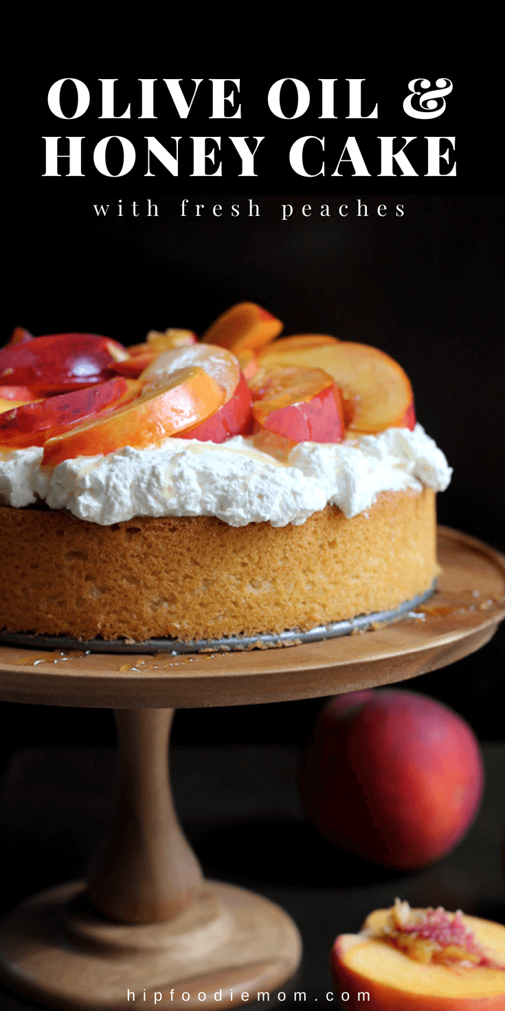 Olive Oil Honey Cake with Fresh Peaches #oliveoils