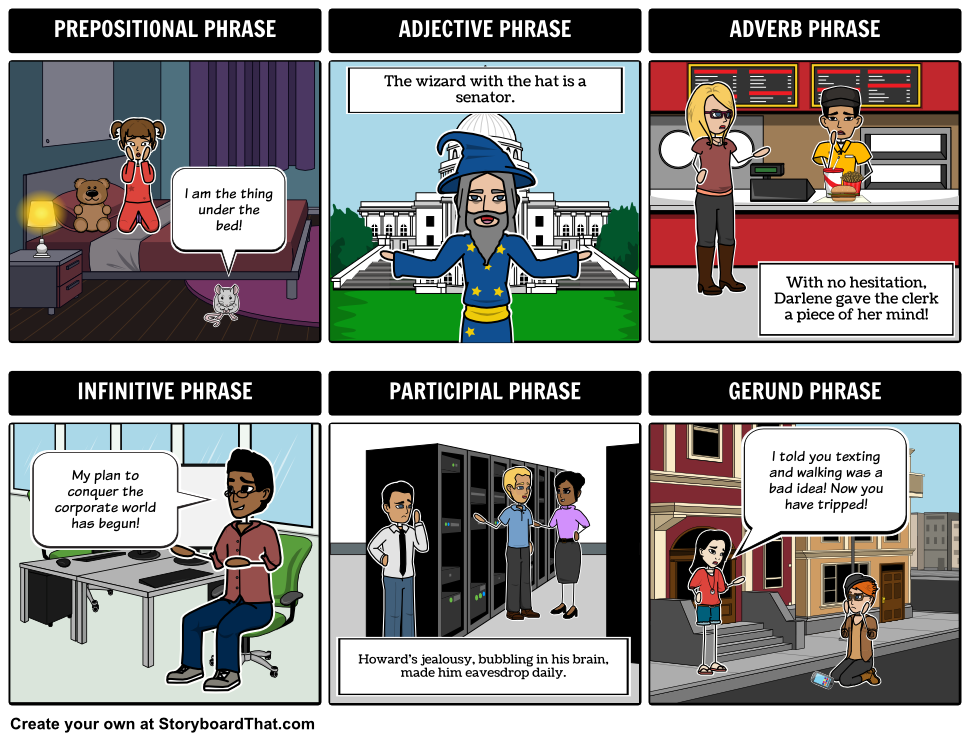 Use Storyboard That to identify different types of phrases