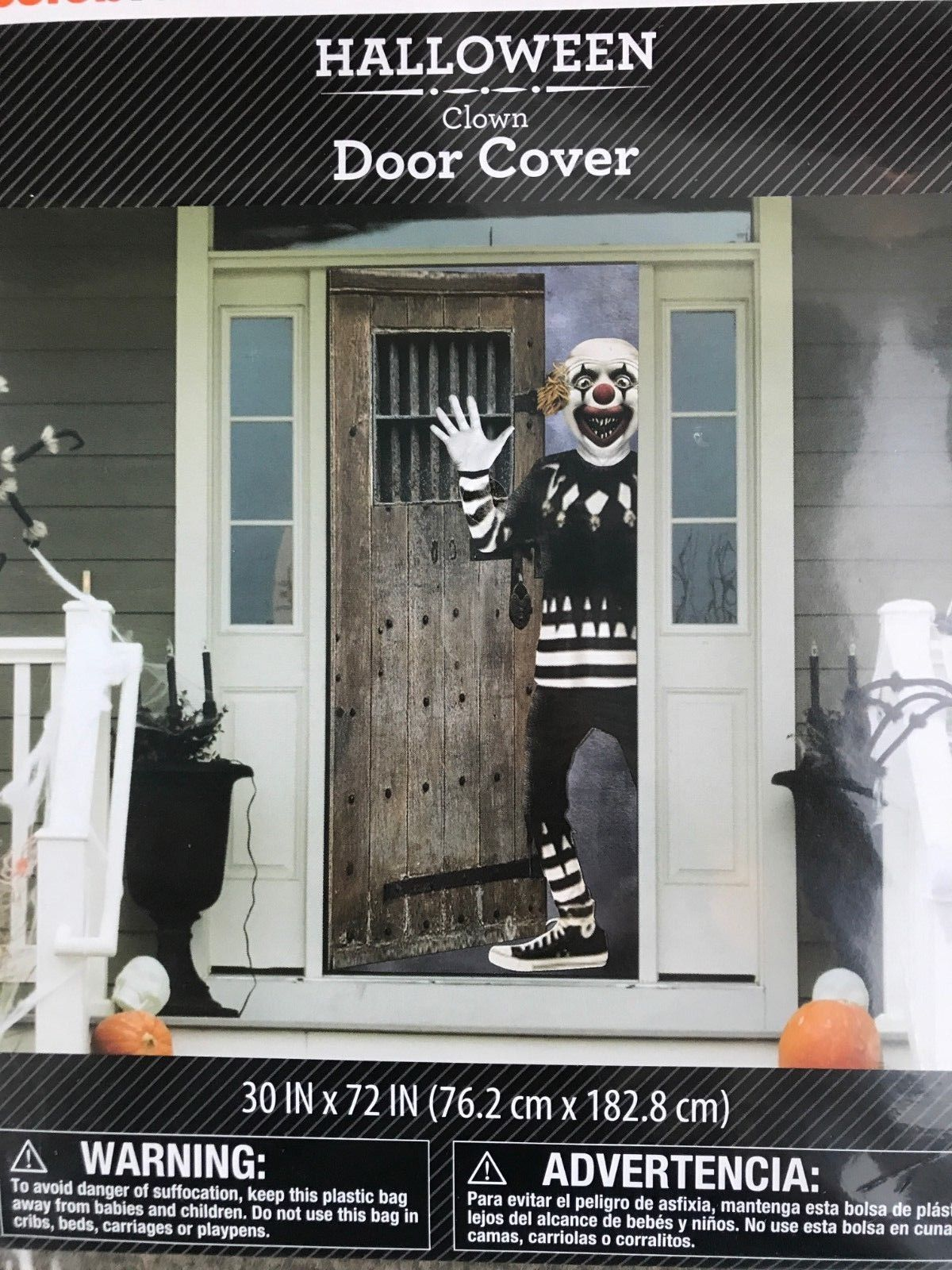9 99 Halloween Scary Clown Door Cover Or Wall Decoration 30 X 72 Scene Setter Halloween Decoration Sett With Images Scary Halloween Scene Setters Scary Clowns