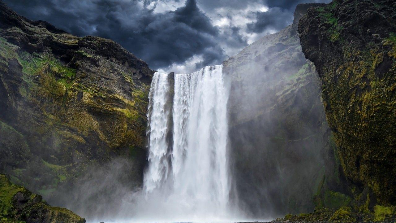Yosemite, 5k, 4k wallpaper, 8k, Waterfall, hills, clouds, river (horizontal)