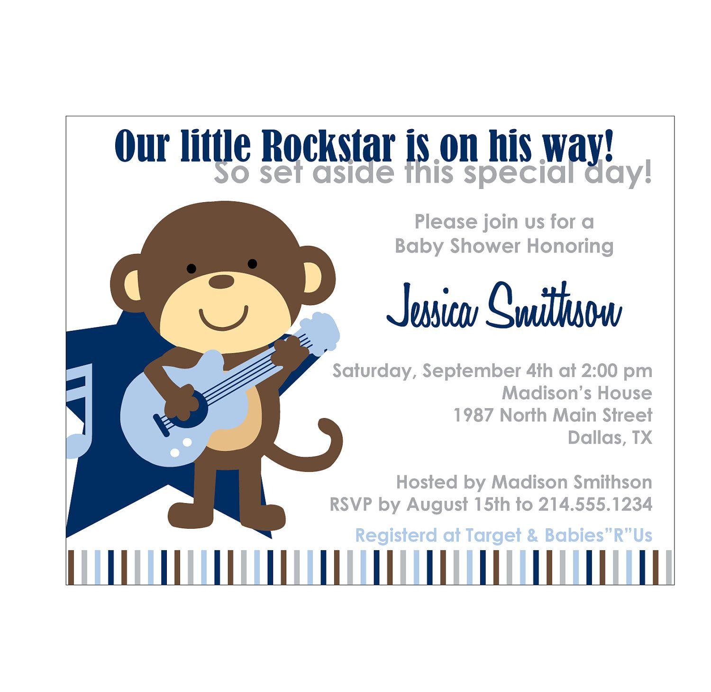 Rockstar Monkey Baby Shower Invitation or Birthday Invitation Cards ...