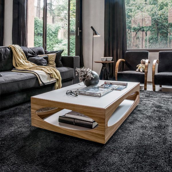 Contemporaryfurniture Com: Gorgeous Wooden Coffee Table With Tempered Glass Top
