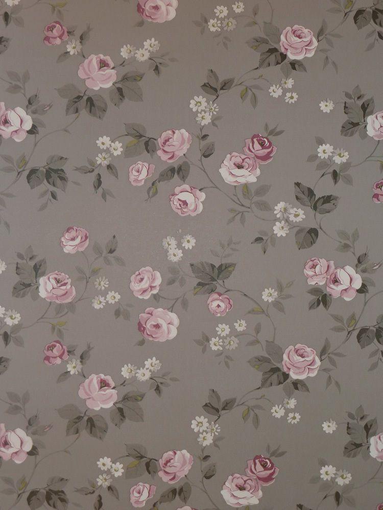 Aromas Vlies Tapete 623 3 Floral Blumen Rosa Grau Landhaus Stil