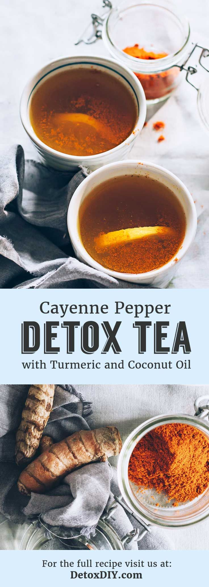 Cayenne pepper detox tea with turmeric and coconut oil