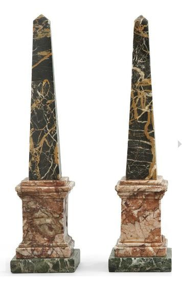 Pair Of Marble Obelisks In 3 Distinctive Colours For The Obelisk The Base Step Italy Xxth Century H 33 3 Cm 13 Obelisk Art Accessories Sculptures
