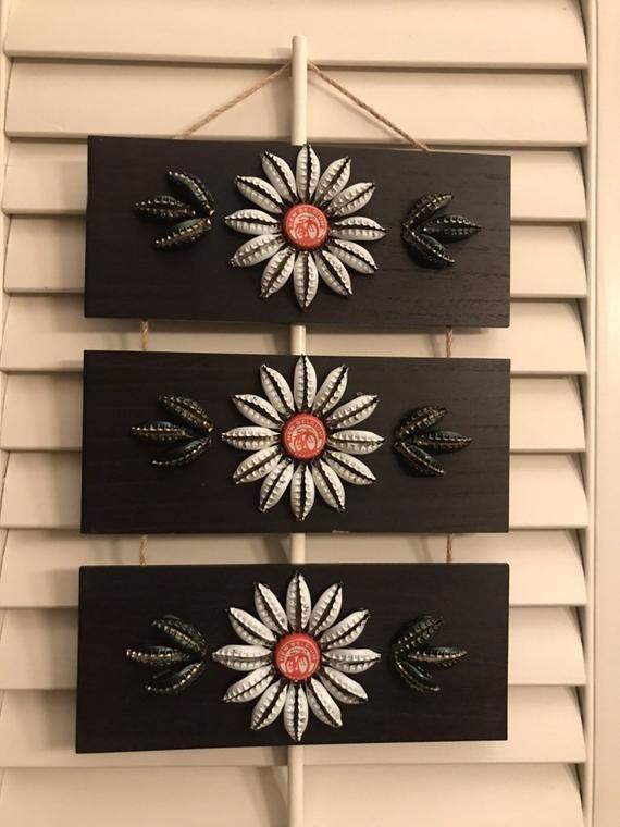 3 panel 3 flower piece #bottlecaps