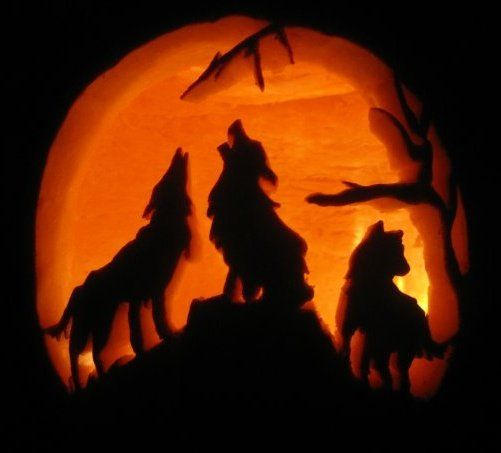 Howling Wolf Wolves Pumpkin Carving Halloween Light Craft