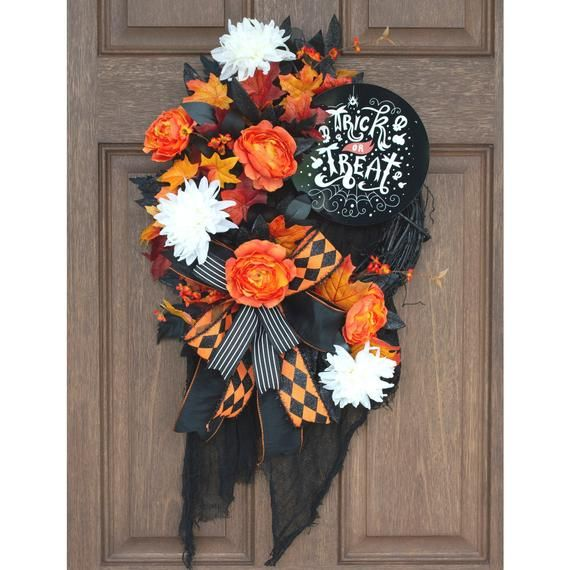 Halloween door decor fall decorative wreath Spider web purple and orange decoration from It Starts on the Porch