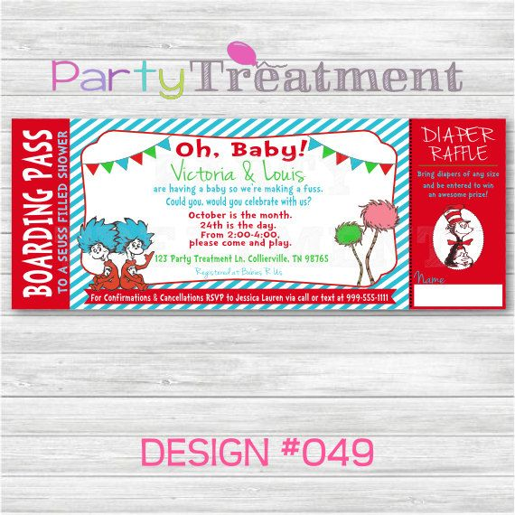 dr seuss baby shower boarding pass ticket invitation with tear off diaper raffle card049 on etsy 1000