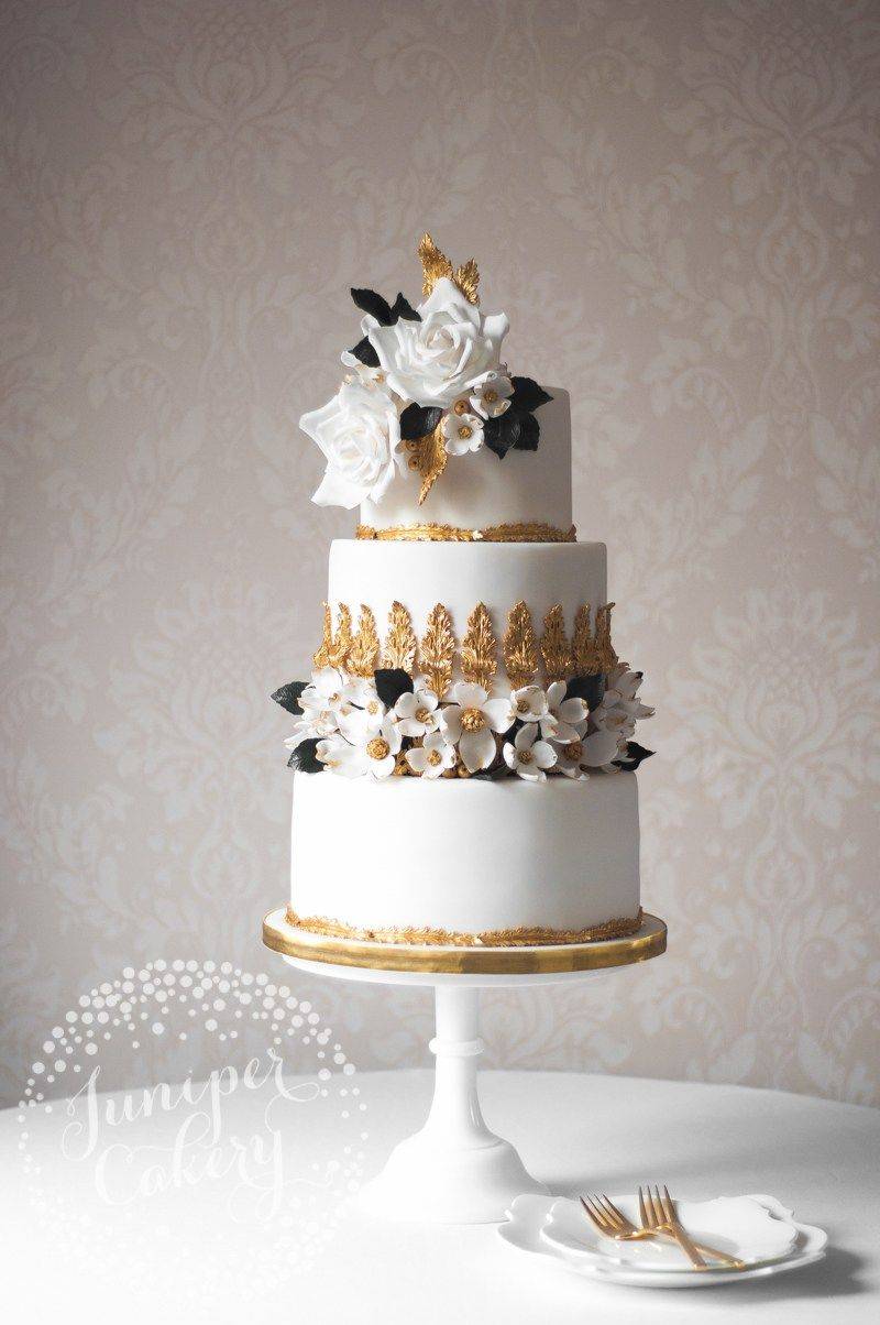 Black, white and gold wedding. Rococo wedding cake by Juniper Cakery ...