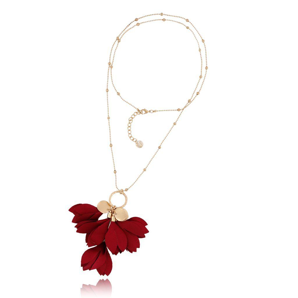 Naszyjnik Z Kwiatem Blossom Bordowy By Dziubeka Pendant Necklace Necklace Pendant