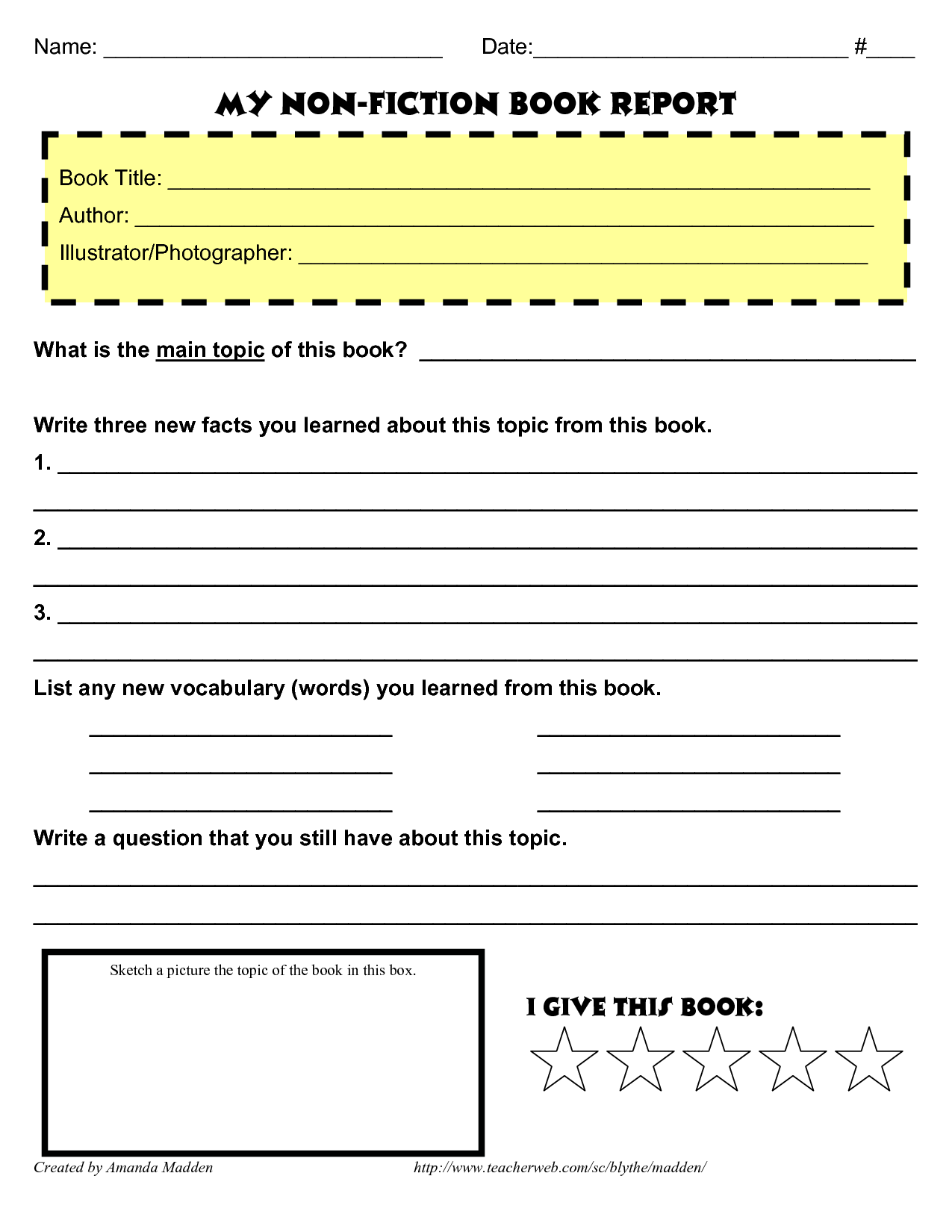 grade 4 book report template non fiction   Book report template middle  school [ 1650 x 1275 Pixel ]