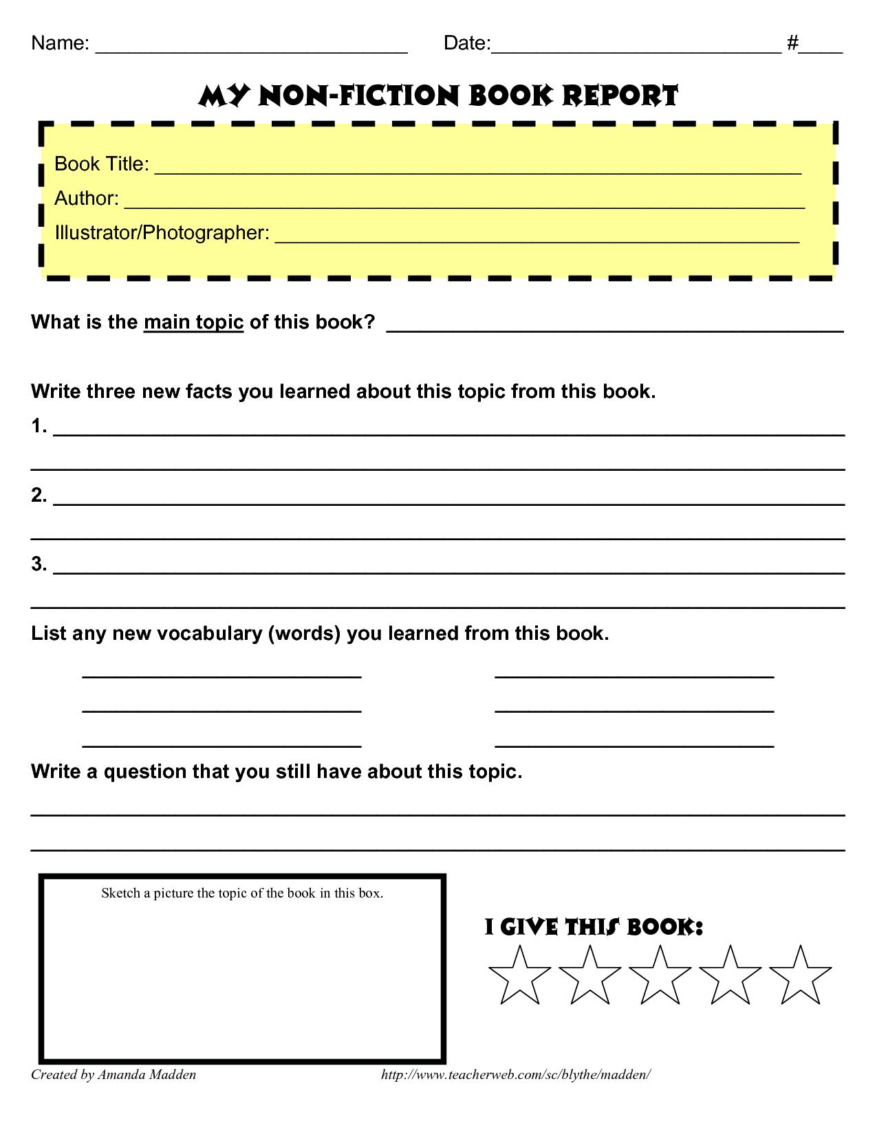 small resolution of grade 4 book report template non fiction   Book report template middle  school