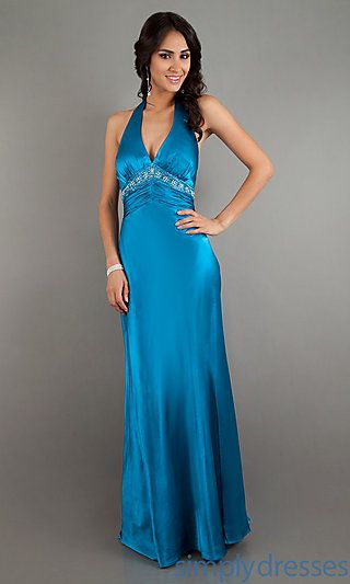 Low Cut Halter Evening Gown by Dave and Johnny 6292 at SimplyDresses.com