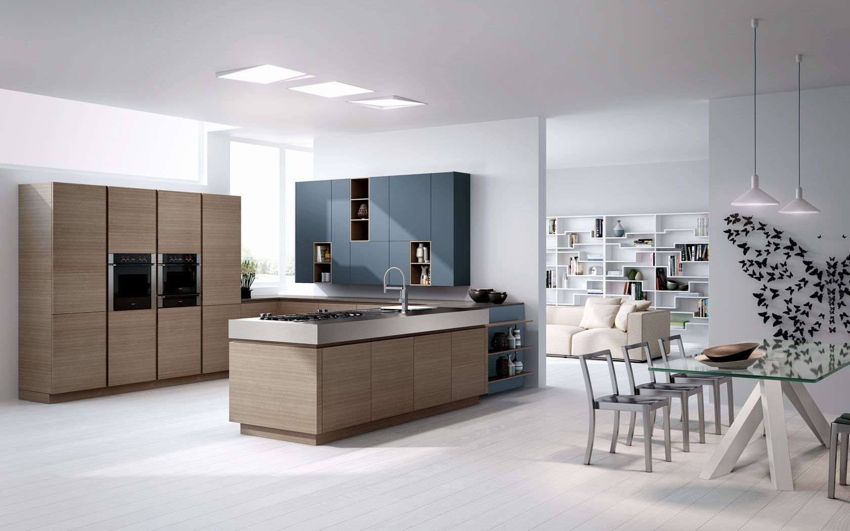 Contemporary kitchen / wood veneer - ESSENTHIA - Lineaquattro ...