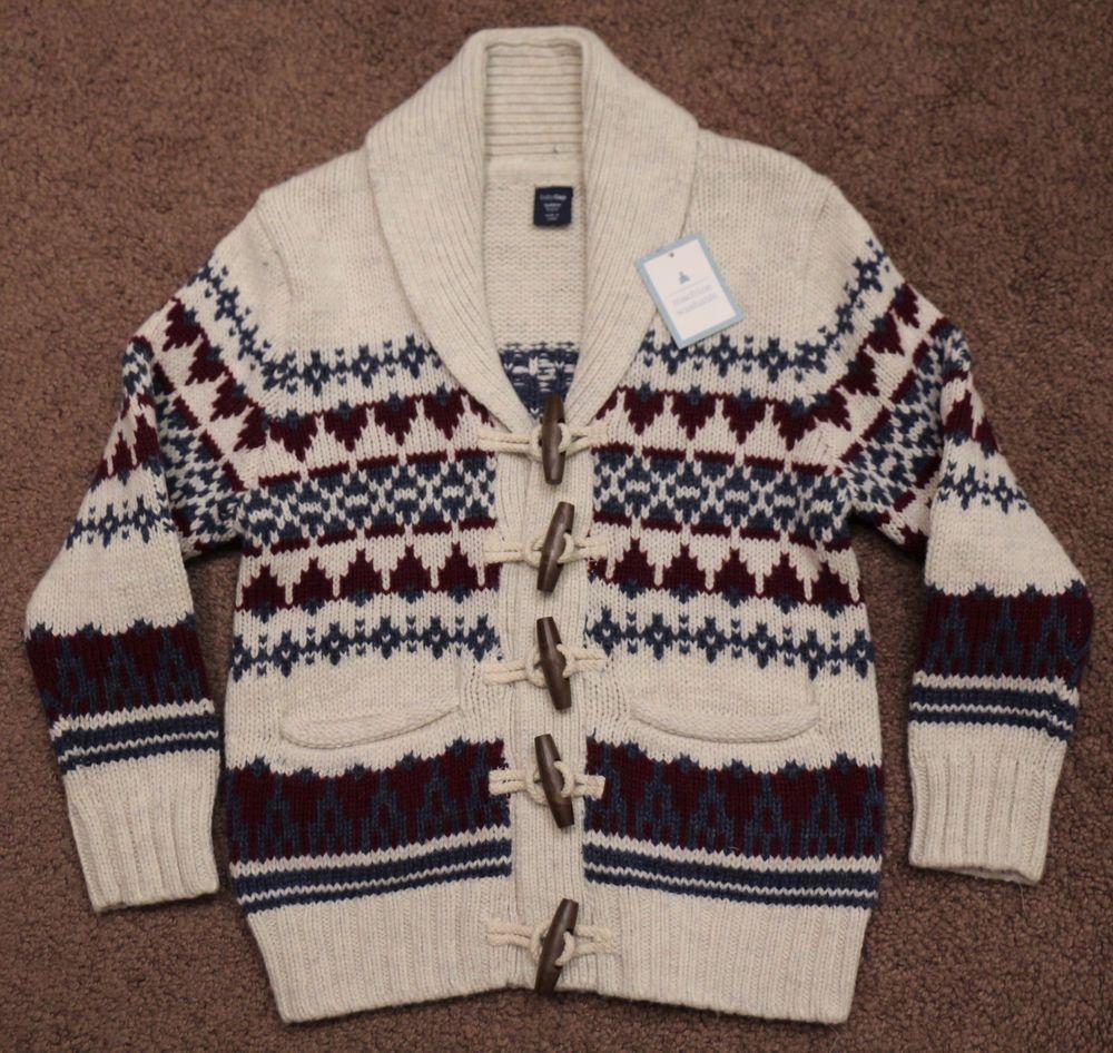 NWT Boys baby GAP 4 4T Sweater Fair Isle Nordic Knit Cotton Wool Toggle Cardigan #babyGap #Cardigan #DressyEverydayHoliday