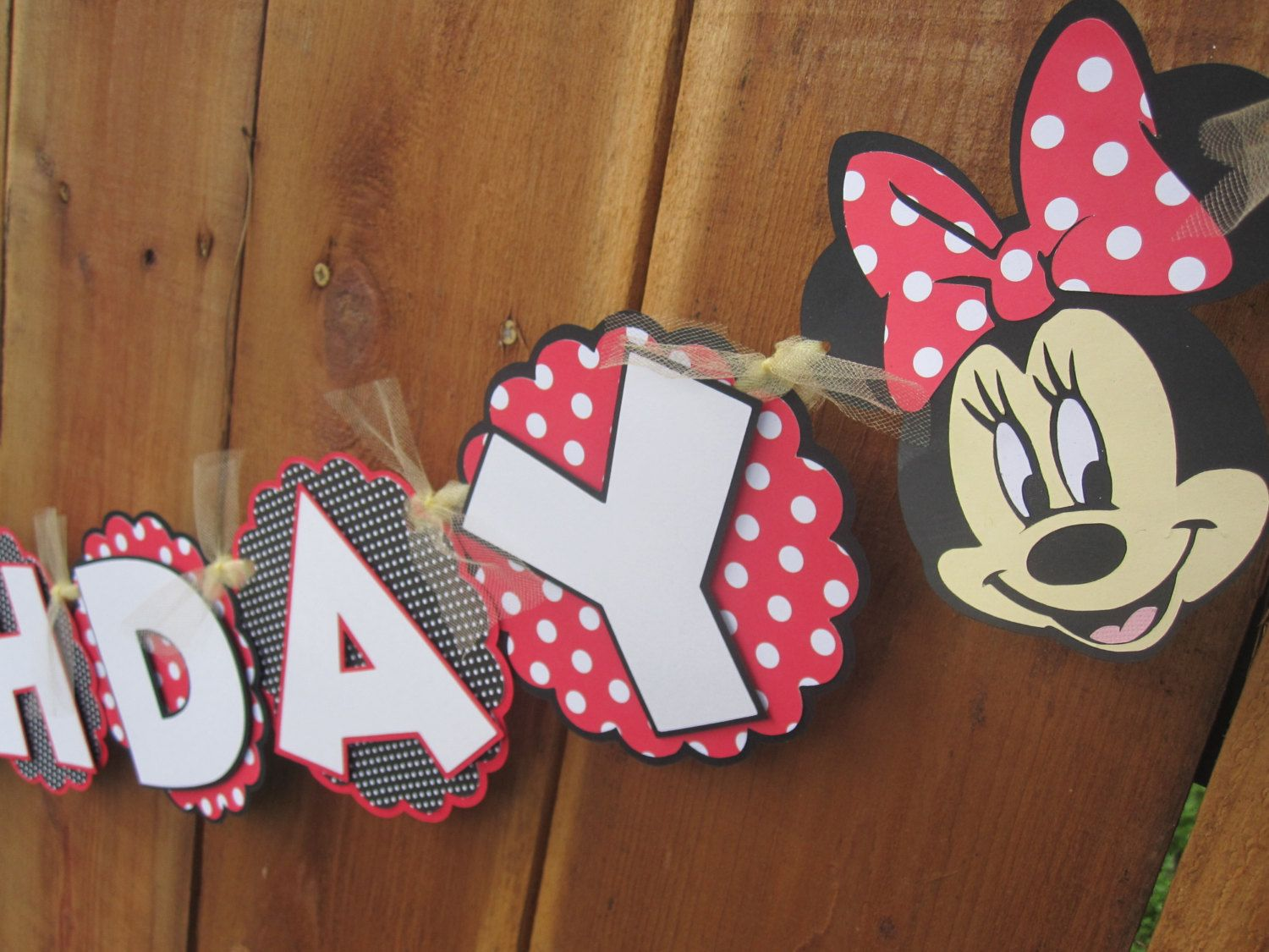 Red Disney Mickey and Minnie Mouse Birthday Banner Minnie Mouse