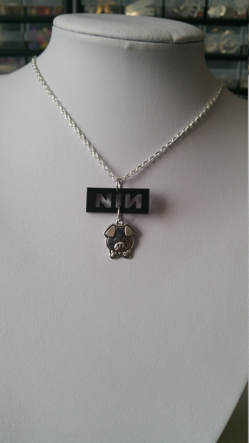 Limited Edition Small Black Laser Cut NIN Nine Inch Nails Necklace ...