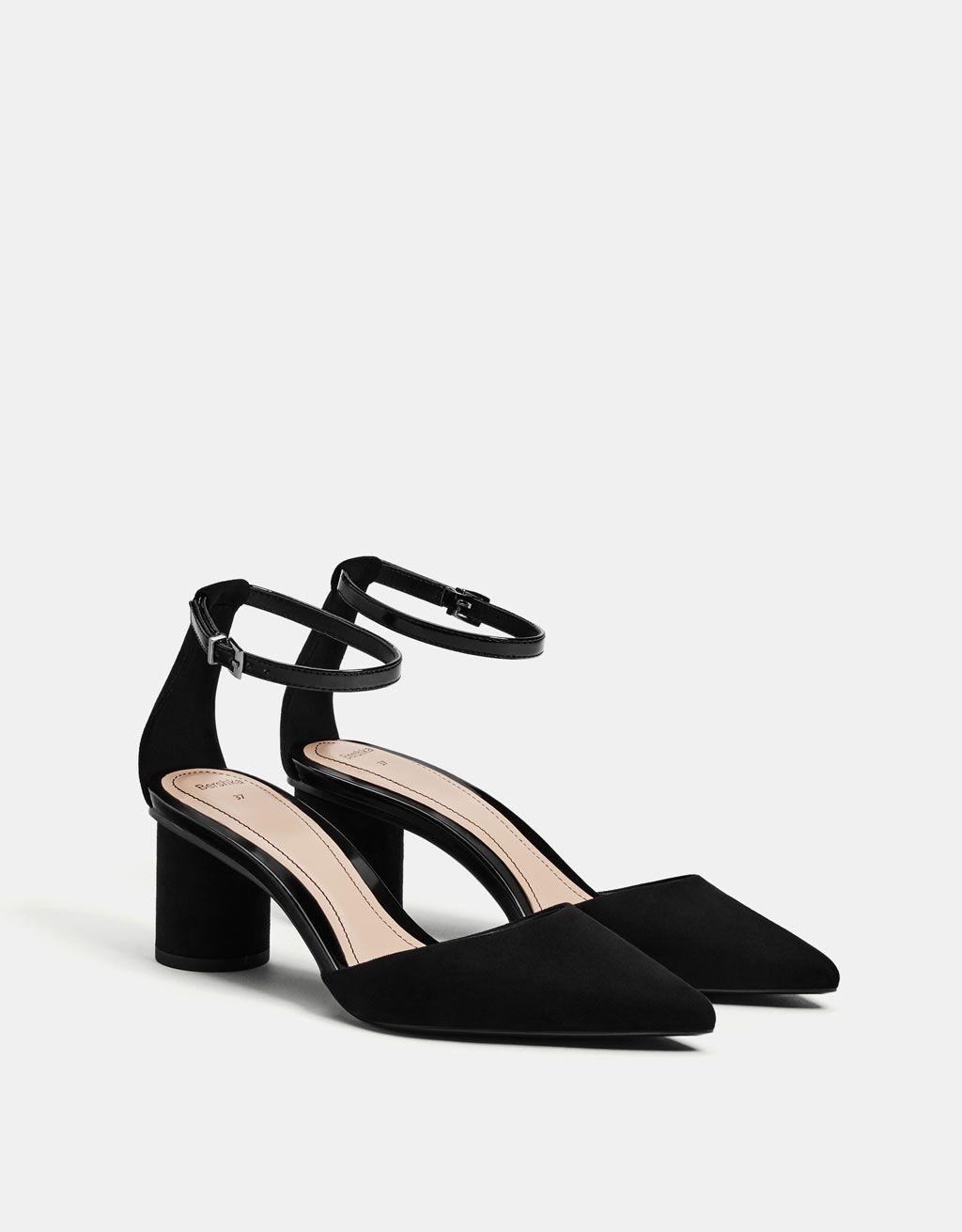 Black Mid Heel D Orsay Shoes Zhenskie Tufli Kabluki Moda Kabluki