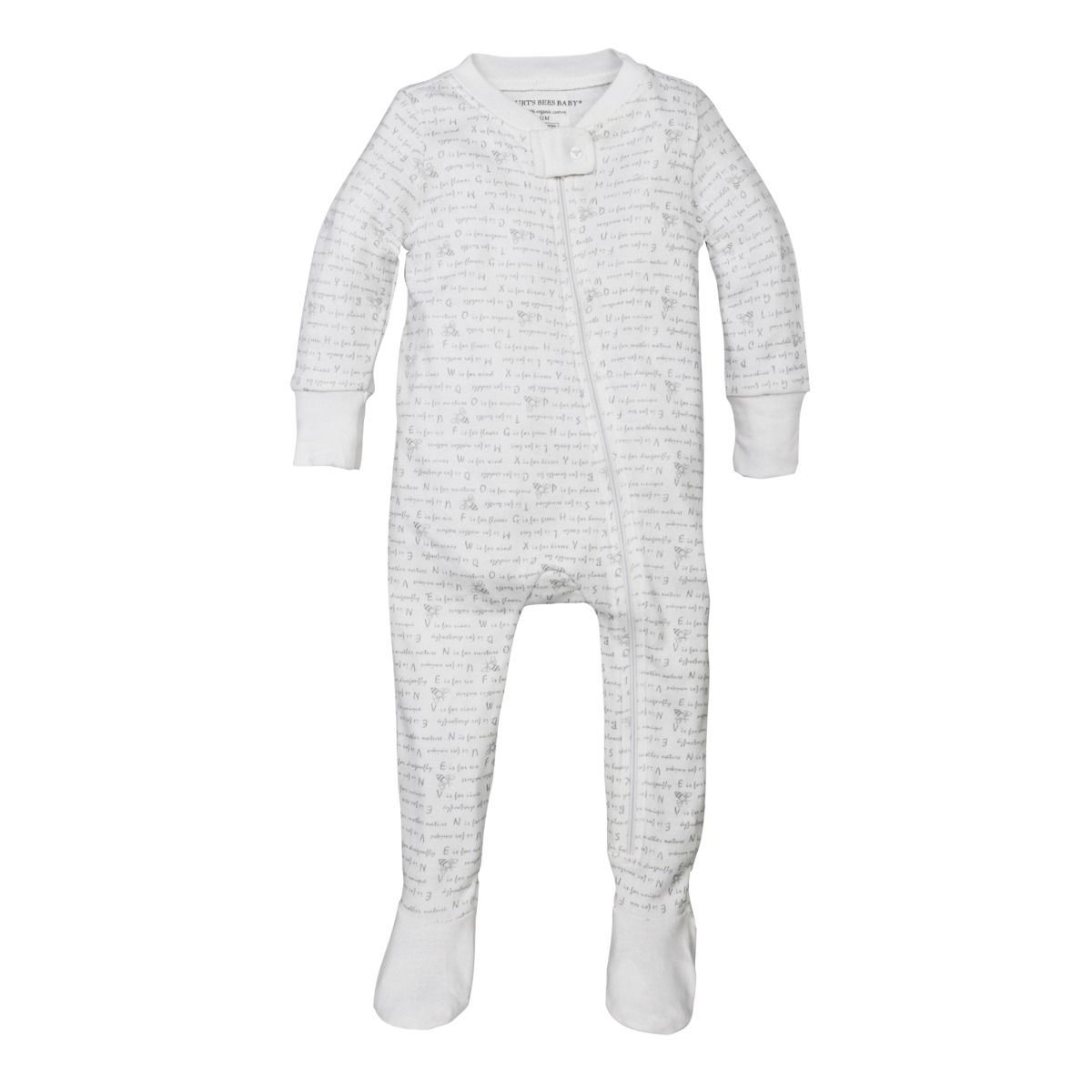 Alphabet Bee Organic Baby Zip Up Footed Pajamas Girl Outfits