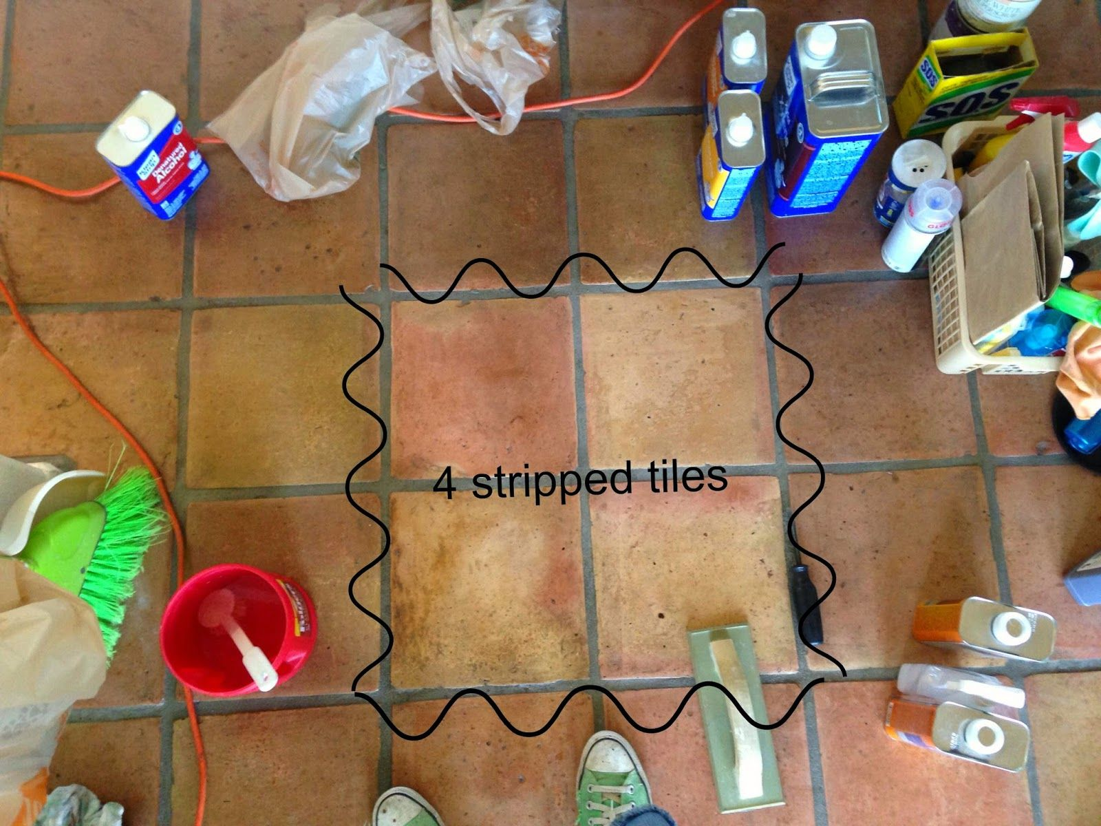 dusty coyote: stripping and sealing a saltillo tile floor | house
