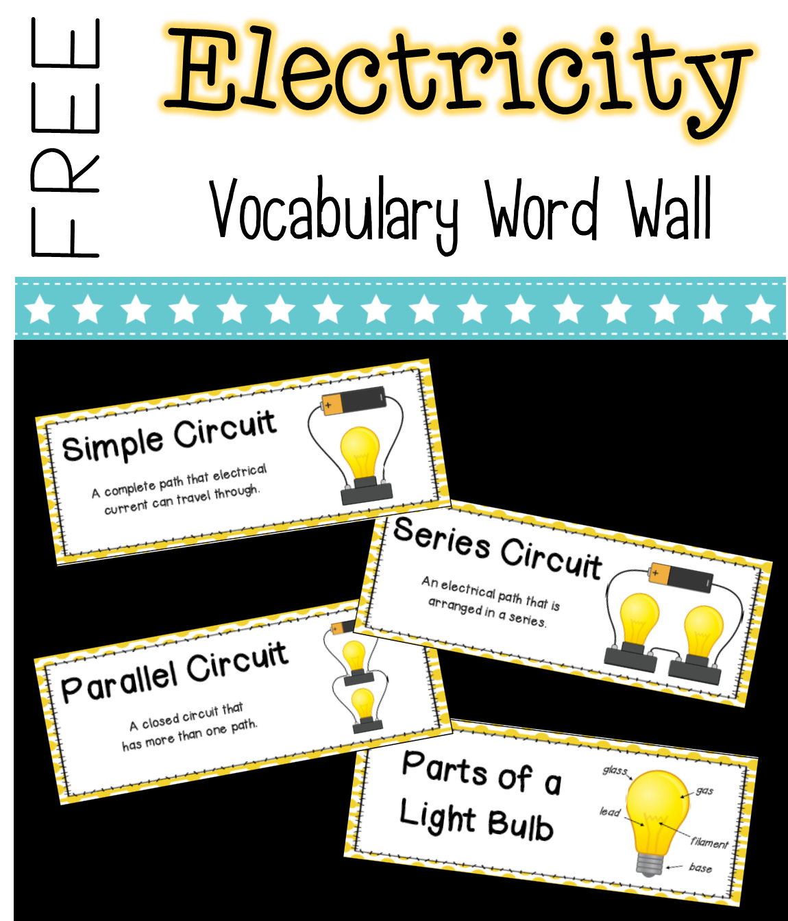 Circuits And Electricity Science Vocabulary Word Wall