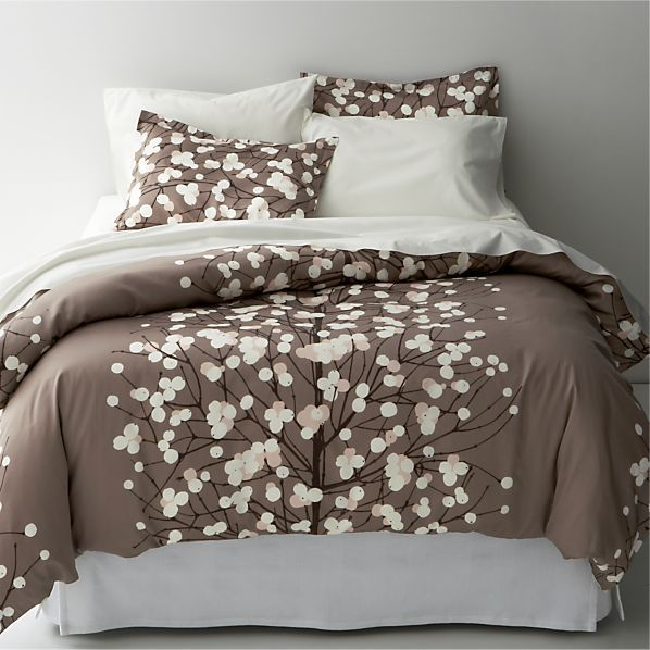 Marimekko Lumimarja Taupe Full Queen Duvet Cover In Covers Crate And Barrel