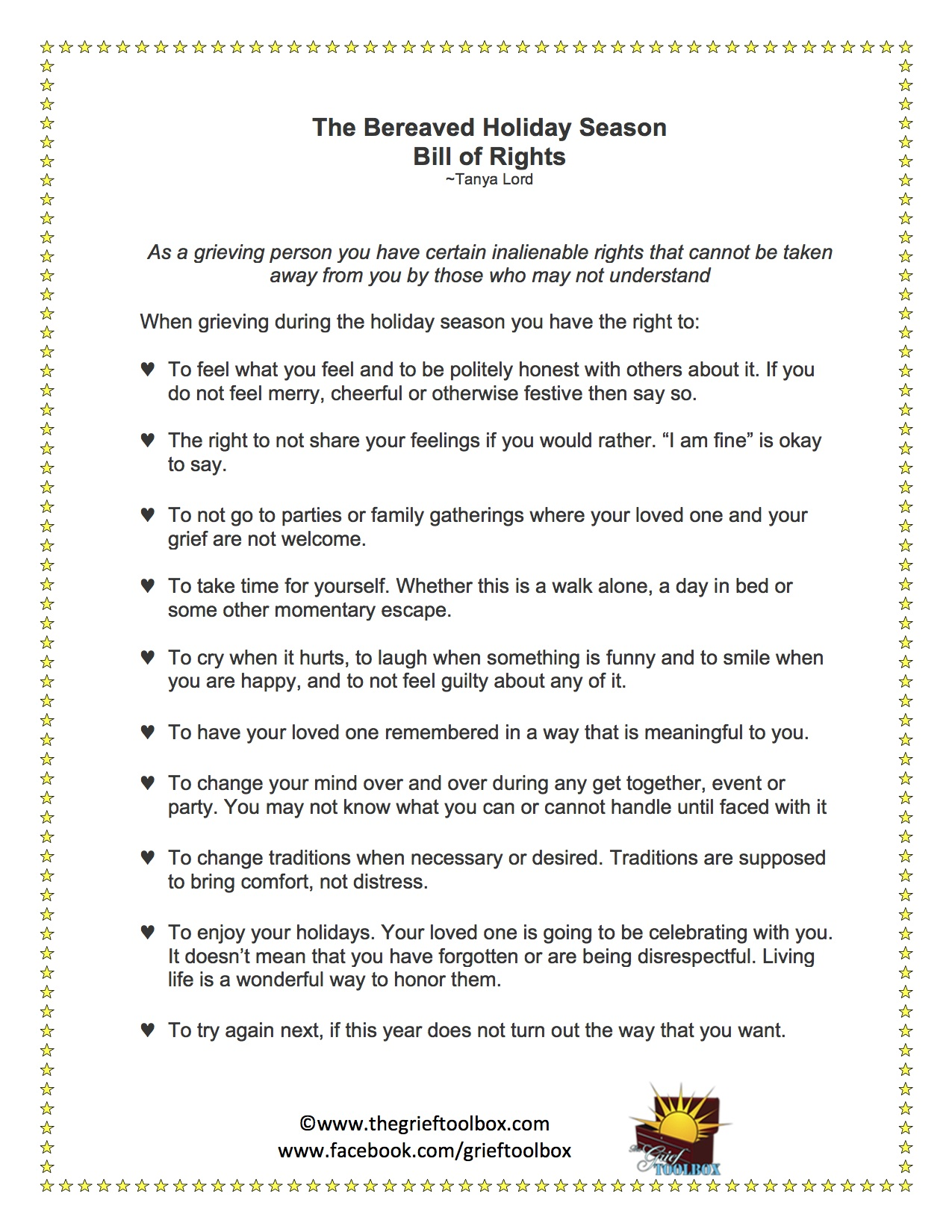 Worksheets Grief Worksheets the bereaved holiday season bill of rights grief toolbox toolbox